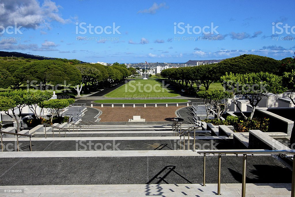 Banyan Trees at Punchbowl Cemetery, Honolulu, Hawaii stock photo