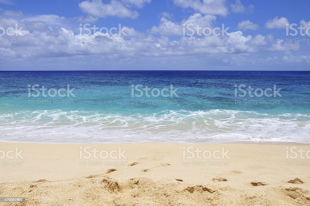 Banzai Pipeline, North Shore, Oahu, Hawaii in Summer stock photo