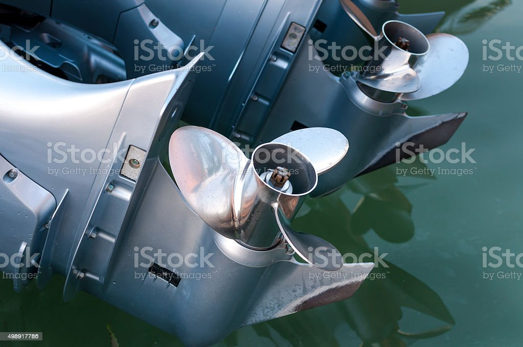Baot propeller installed on the engine stock photo