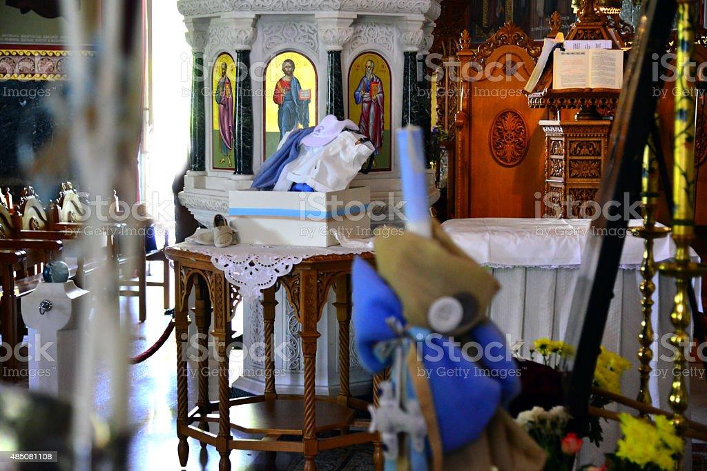 Baptism Christening Greek Orthodox guest treats stock photo