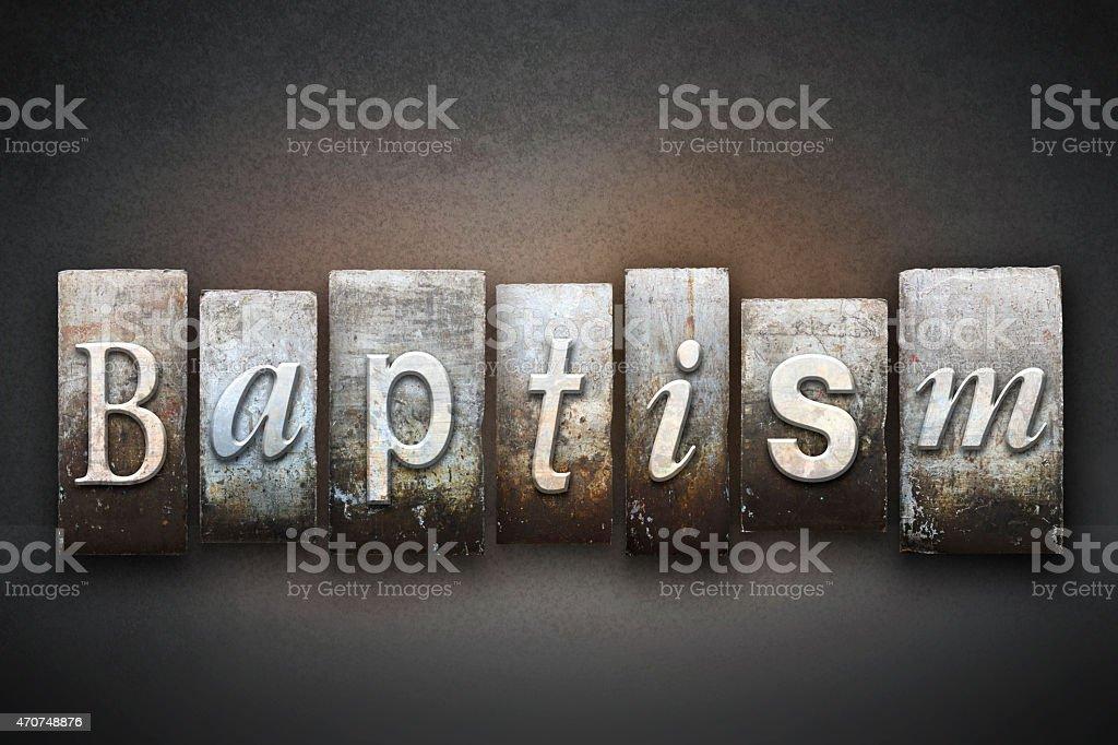 Baptism Letterpress stock photo