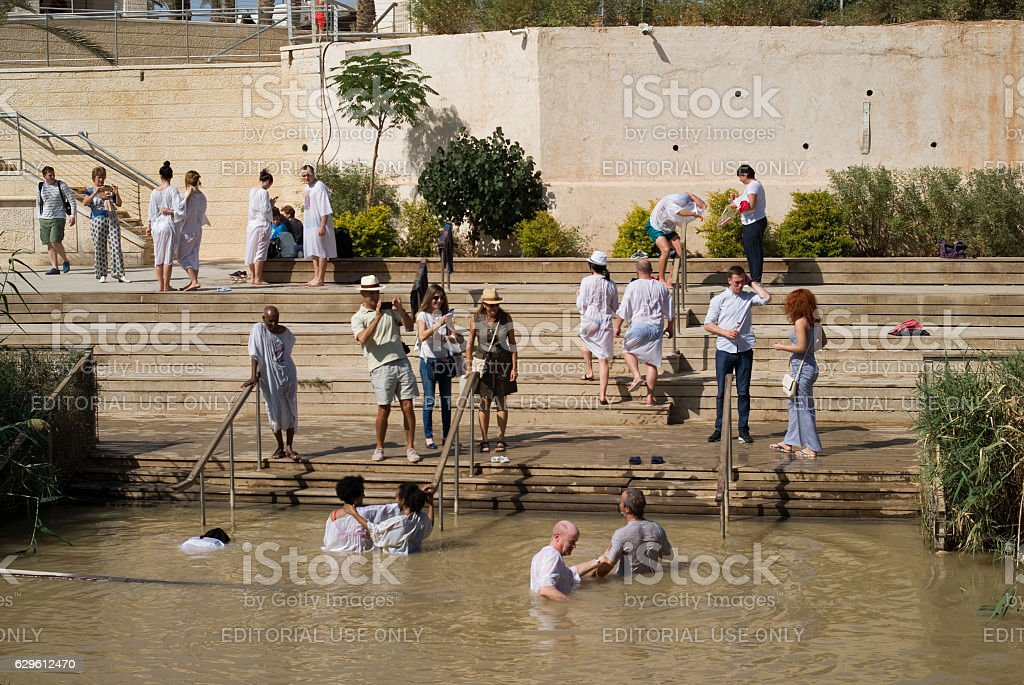 Baptismal Site on the Jordan River, Qasr al-Yahud, Israel stock photo