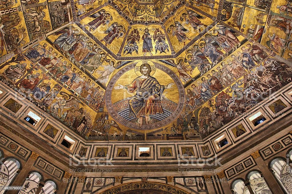 Baptistery in Florence, Italy stock photo