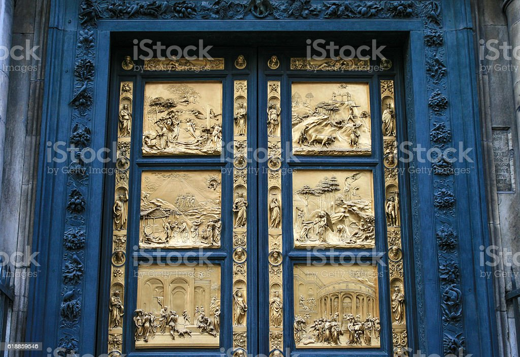 Baptistery of St. John Door, next to Duomo, Florence, Italy. stock photo