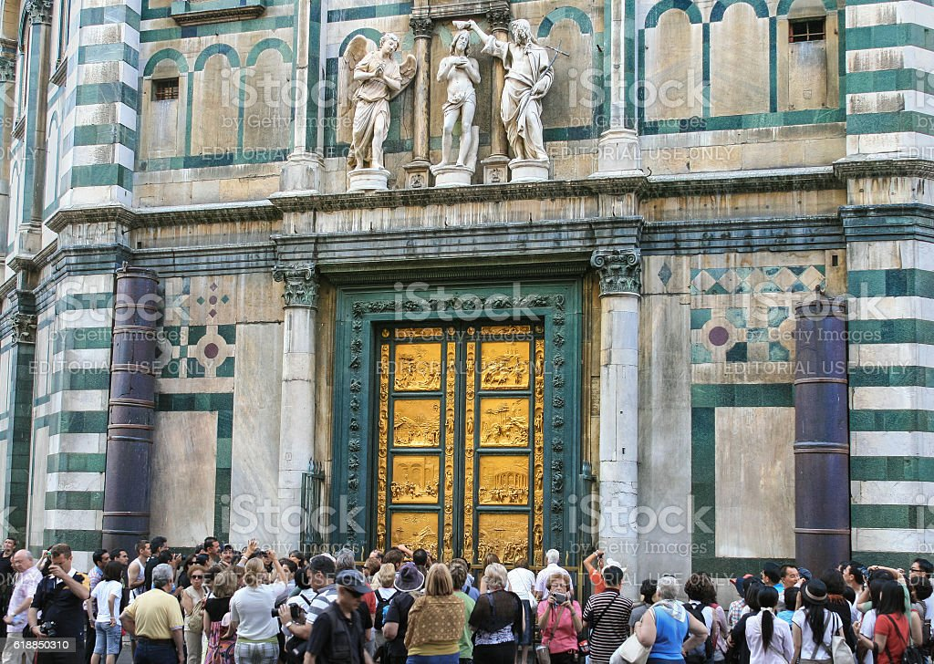 Baptistery of St. John next to Duomo (Florence Cathedral), Italy. stock photo