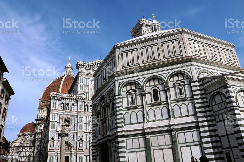 Baptistry San Giovanni, Florence Cathedral, Campanile Giotto, Florence Italy stock photo