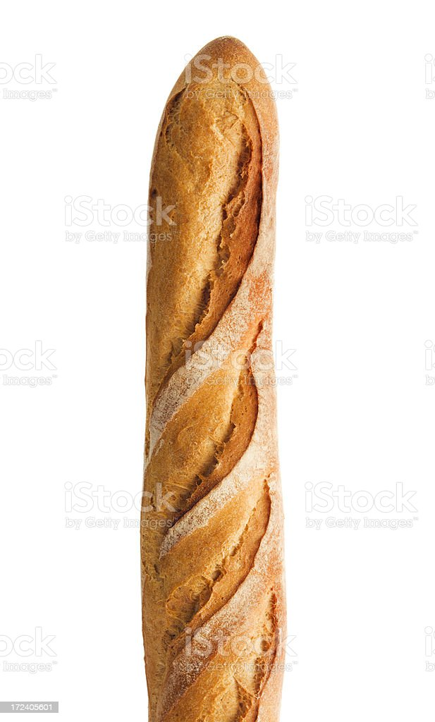 Baquette, Crusty French Bread Loaf, Starch Food Isolated on White stock photo