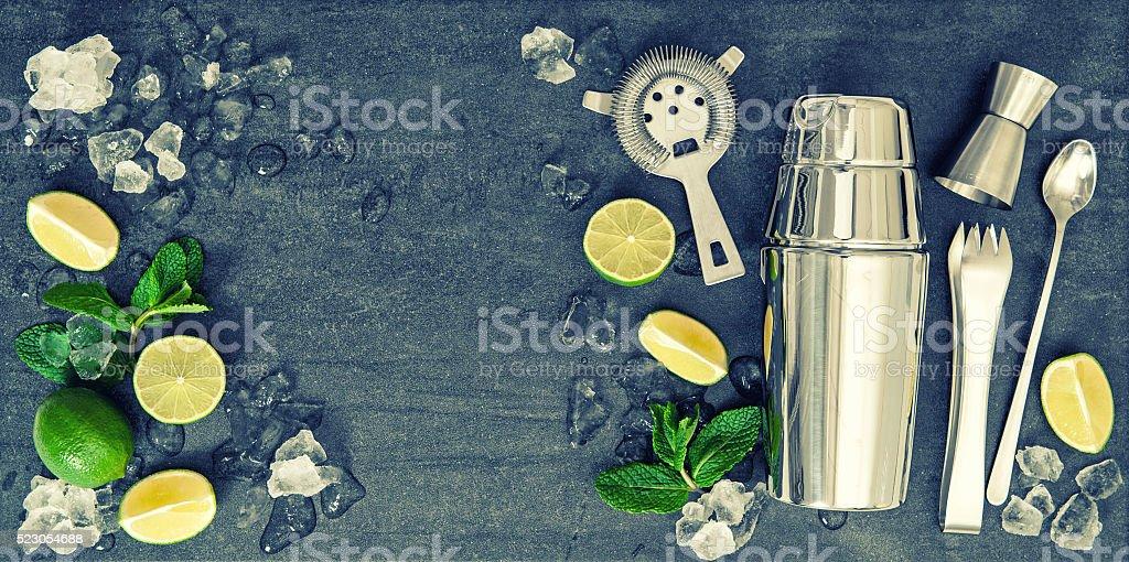 Bar accessories. Ingredients cocktail drink vintage stock photo