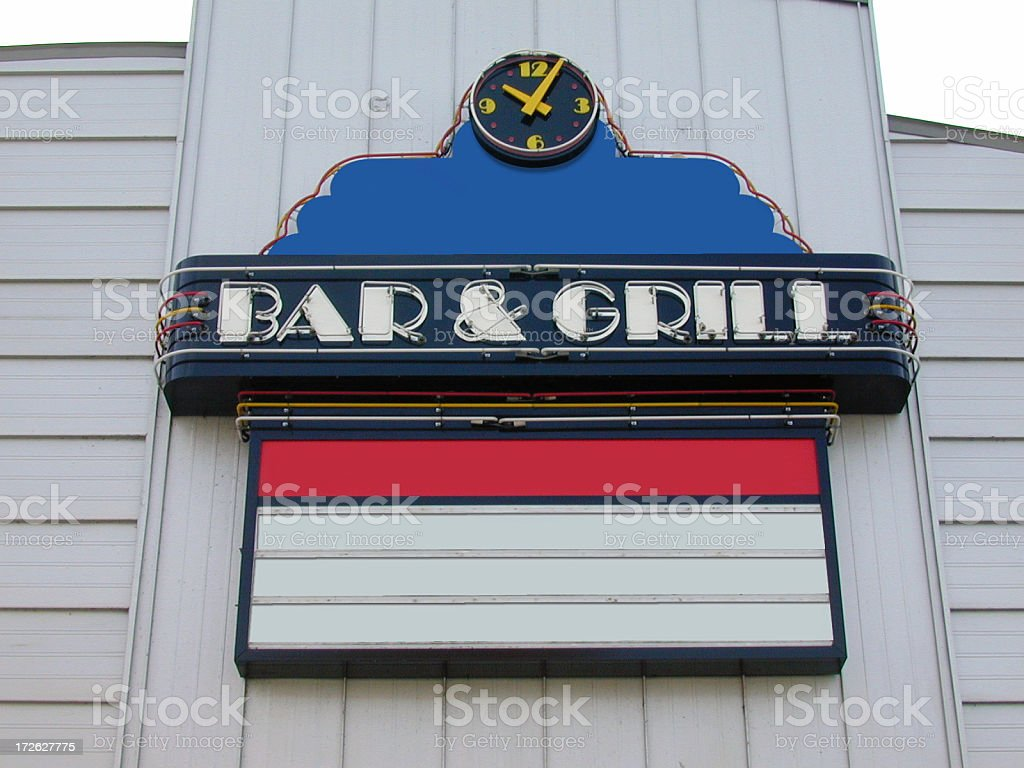 Bar and Grill Sign royalty-free stock photo