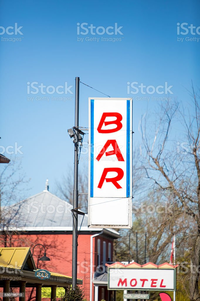 Bar and motel sign stock photo