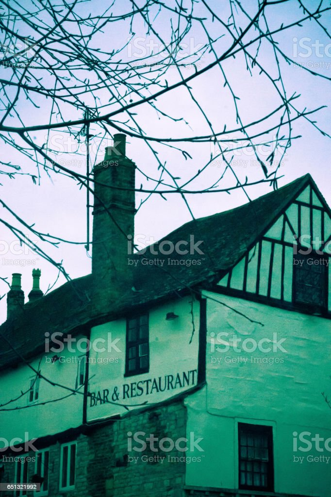 Bar and restaurant in Stamford stock photo