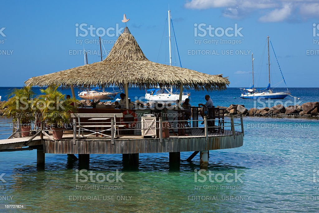 Bar at End of Pier, Pointe du Bout, Martinique royalty-free stock photo