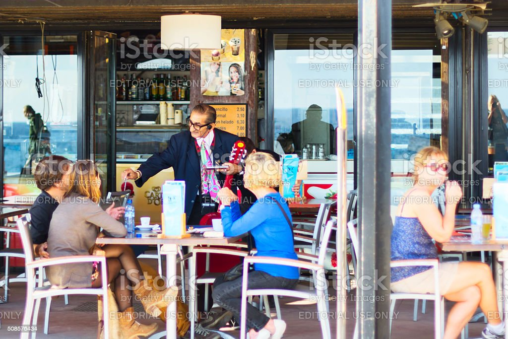 bar at the beach in Barcelona, Spain stock photo