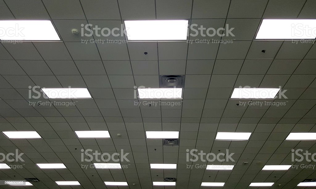T Bar ceiling with fluorescent light box stock photo