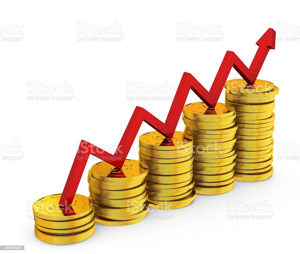 bar chart diagram of golden dollar coins stock photo