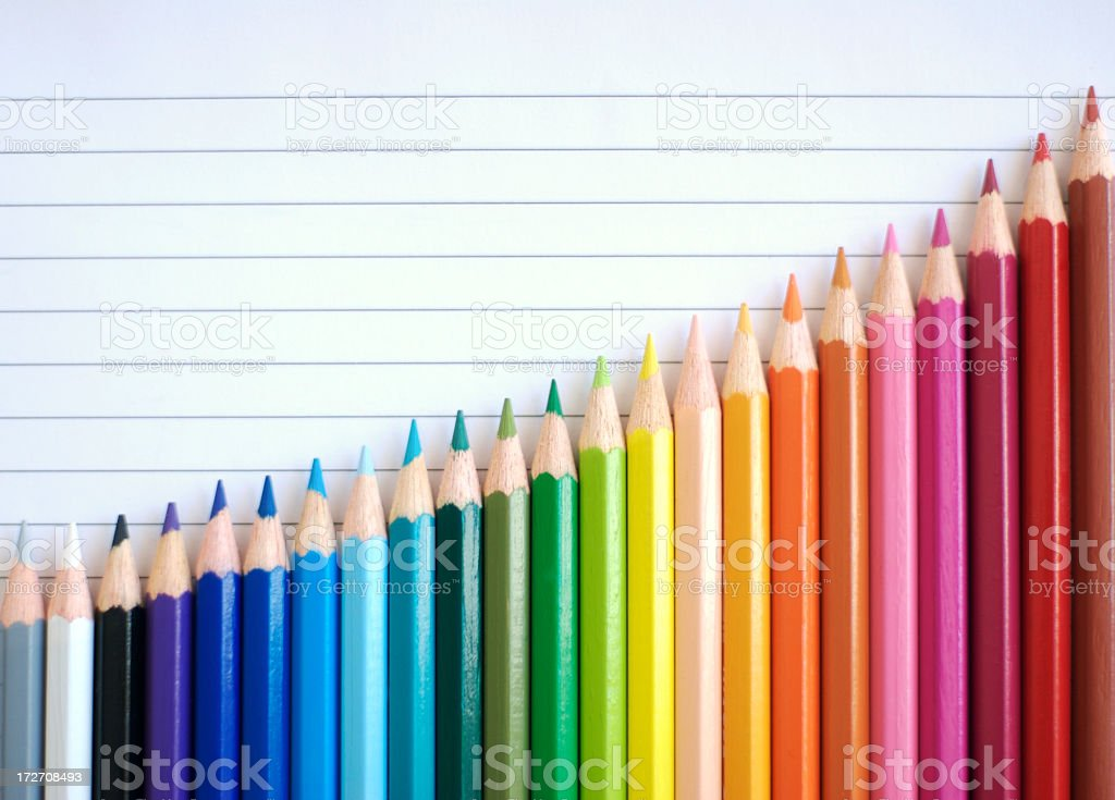 Bar Chart Graph Rainbow Colored Pencils Showing Result of Success stock photo