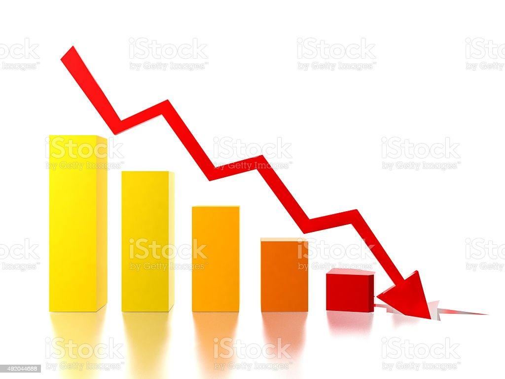 Bar chart shows decreasing rate stock photo