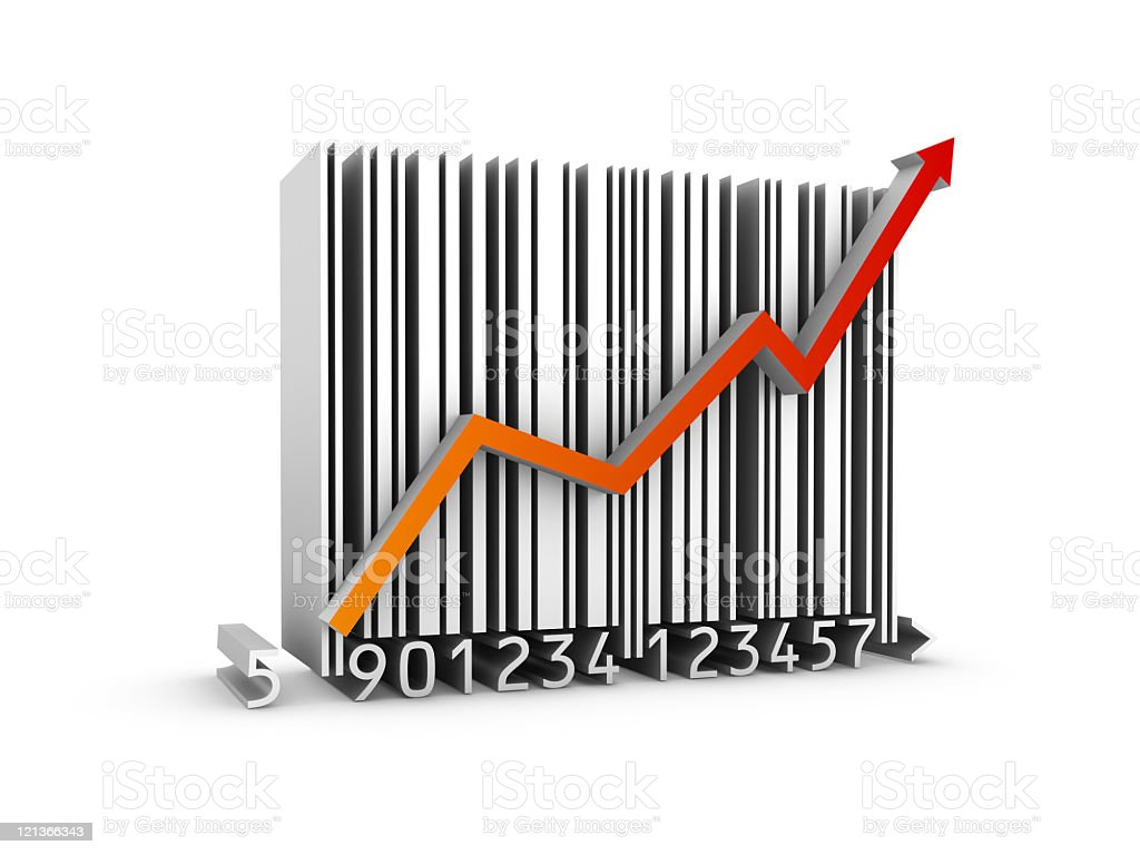3D Bar Code Chart royalty-free stock photo