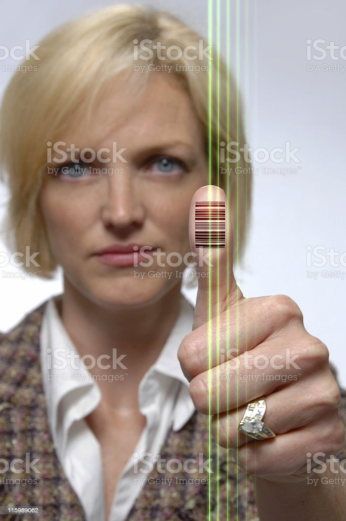 Bar Code Imprinted on Thumb stock photo