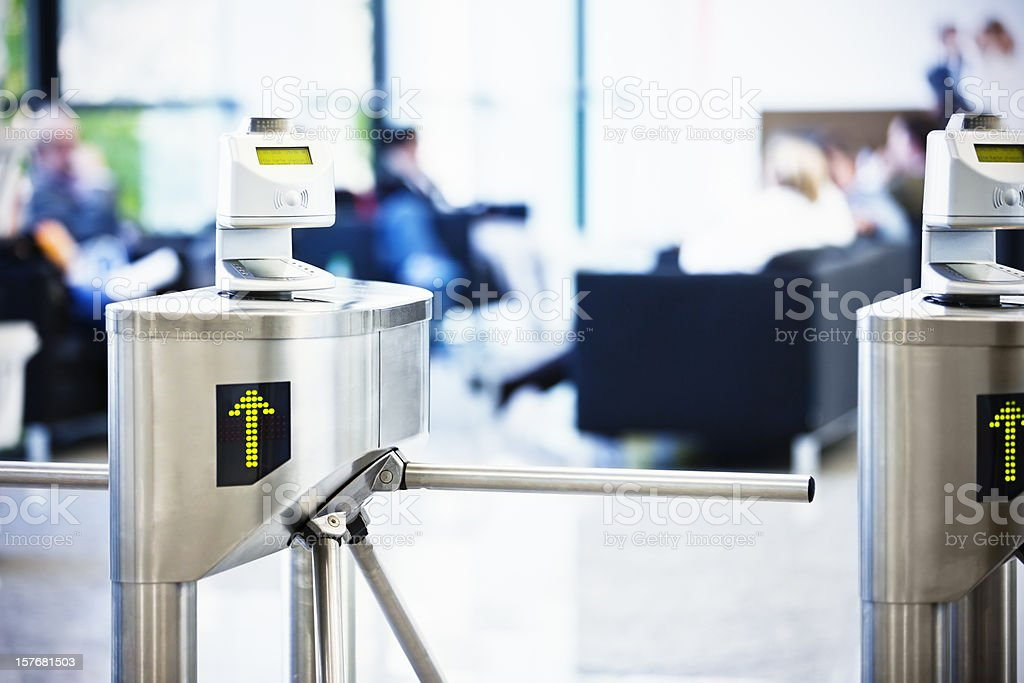 Bar code ticket scanners at fair entrance gate royalty-free stock photo