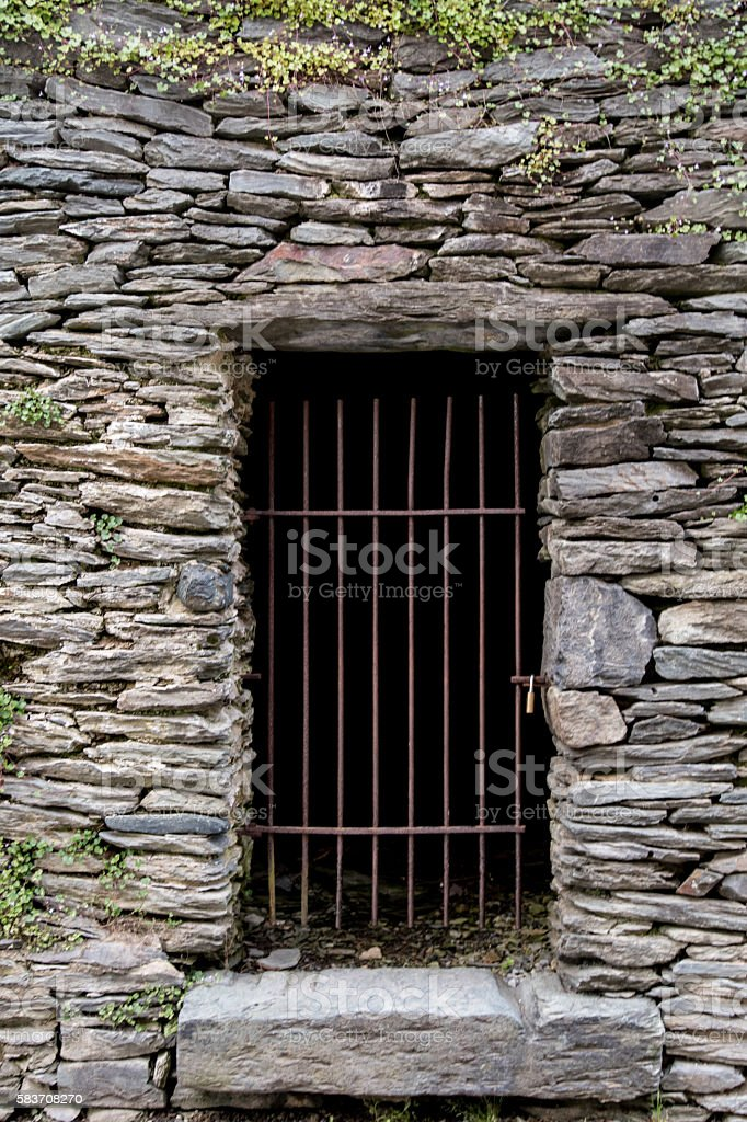 Bar Door Entry to Root Cellar stock photo