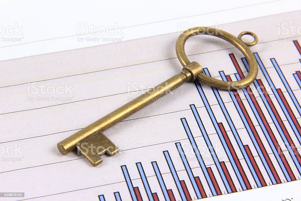 Bar graph and key stock photo