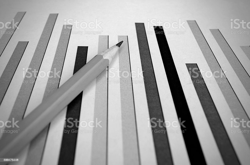 Bar Graph and Pencil stock photo