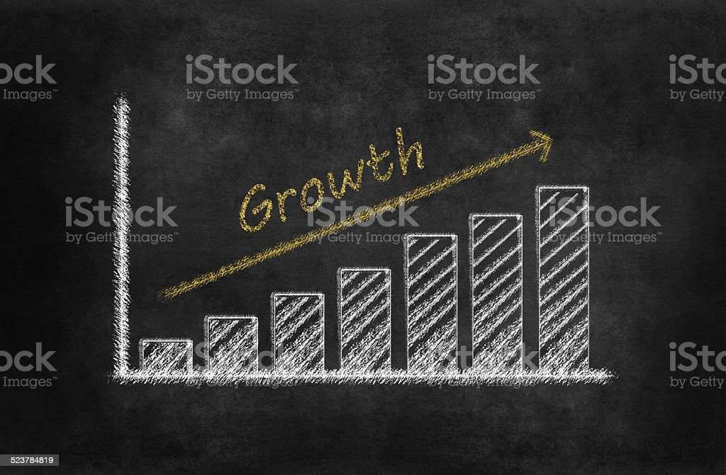 Bar graph for Growth on blackboard stock photo