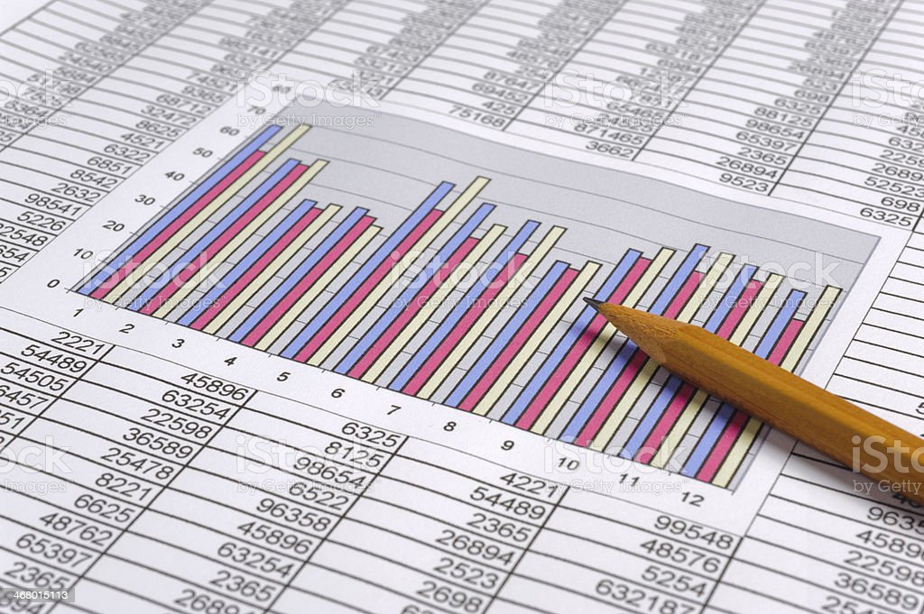 A bar graph in the middle of a spreadsheet with a pencil stock photo