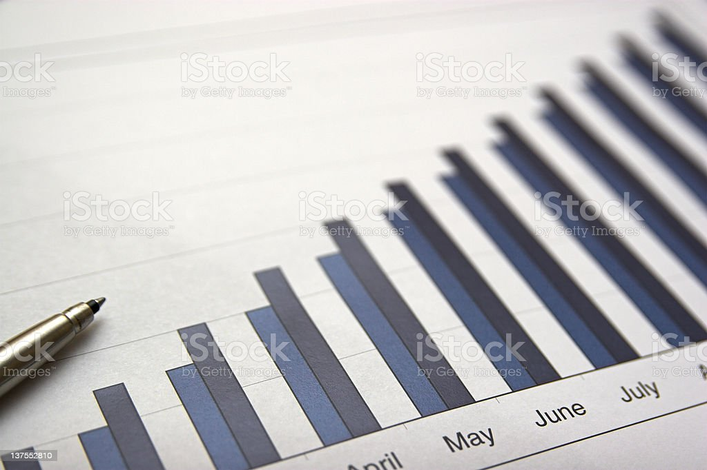 Bar graph showing statistics over several months stock photo