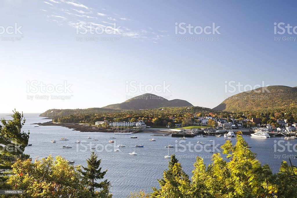 Bar Harbor, Maine, Autumn morning stock photo