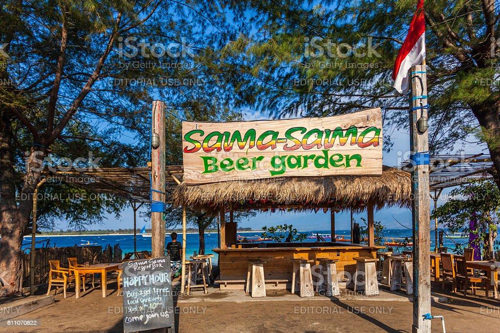 Bar in Gili Islands in Lombok, Indonesia stock photo