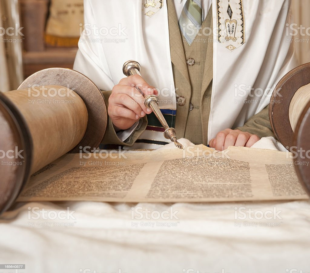 Bar Mitzvah Reading the Torah stock photo