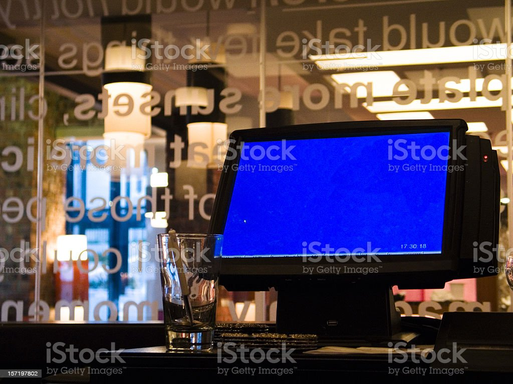 Bar point-of-sale terminal stock photo
