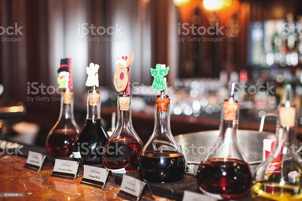 bar restaurant liquor at the cocktails drinks alcohol additives stock photo