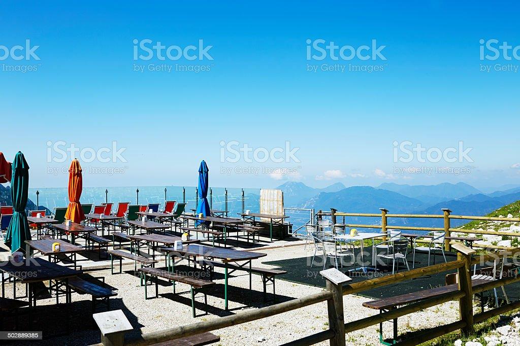 Bar restaurant on Monte Baldo. Trentino Alto Adige royalty-free stock photo