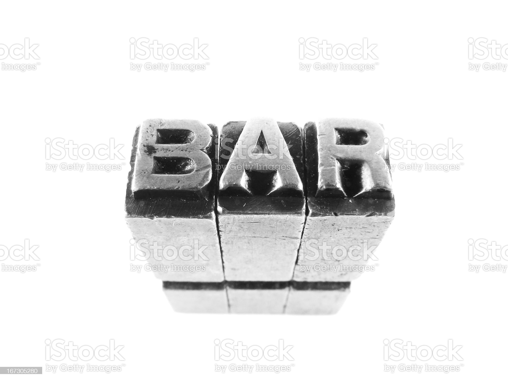Bar sign, antique metal letter-press type isolated royalty-free stock photo