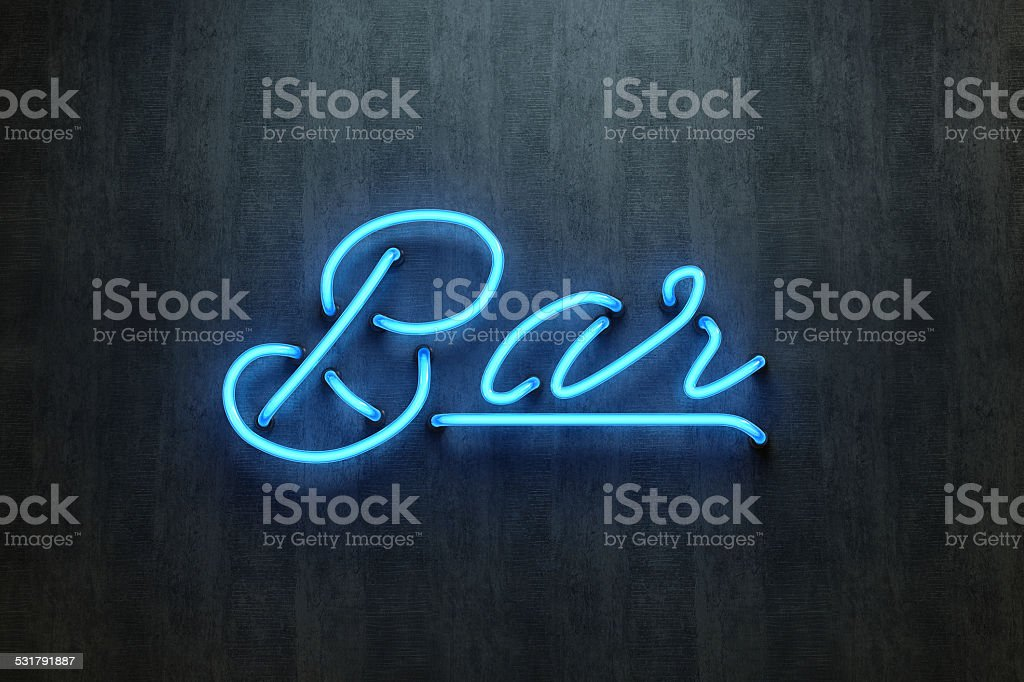 Bar sign neon lettering stock photo