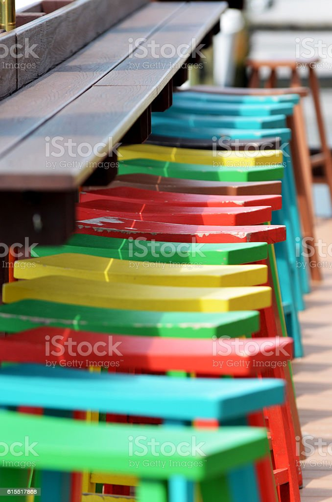 Bar Stools on the Bay stock photo