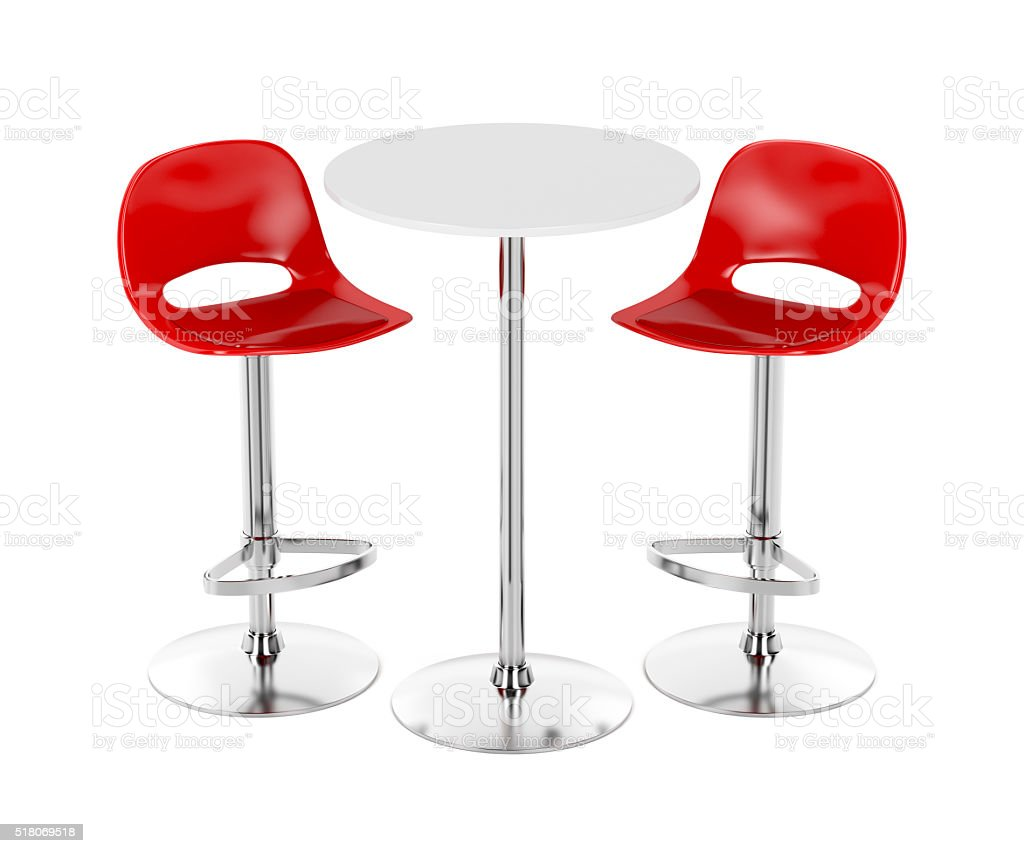Bar table and stools stock photo