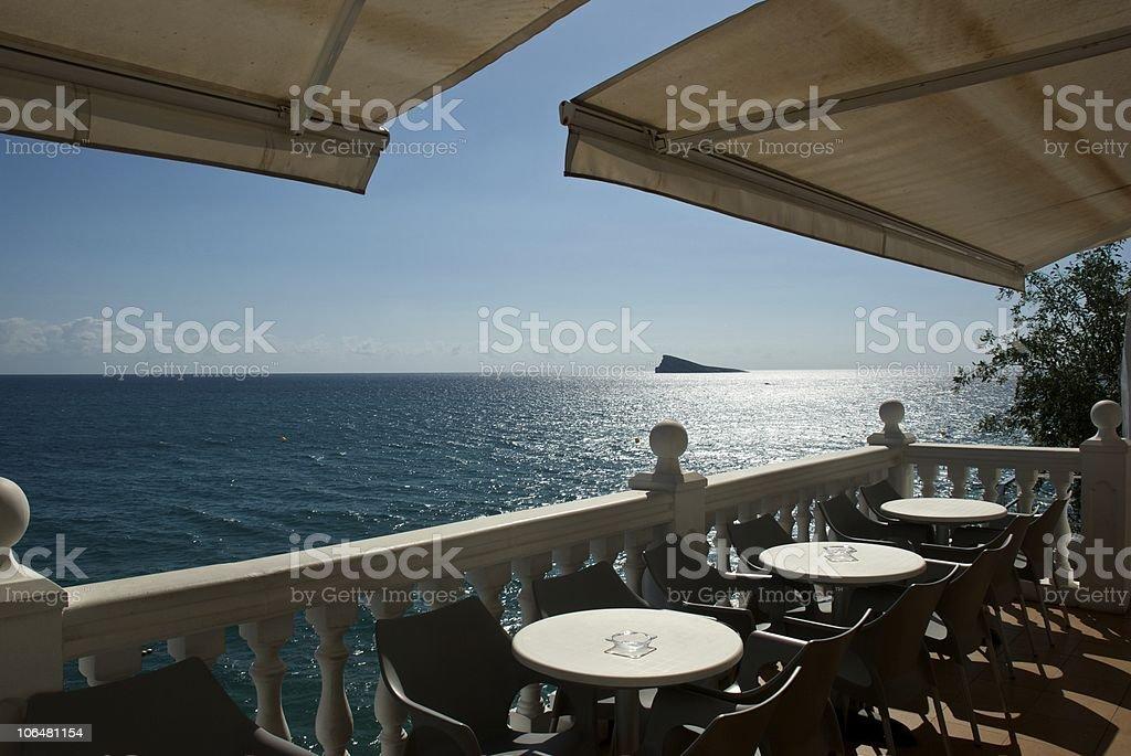 Bar terrace over the sea stock photo