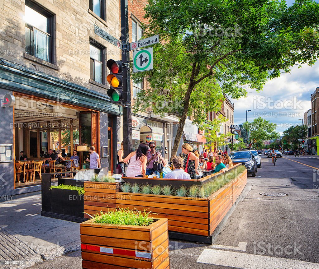 Bar terrasse on Mont-Royal avenue plateau Montreal stock photo
