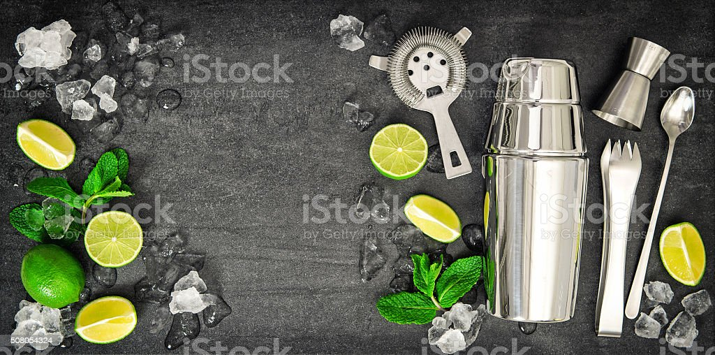 Bar tools. Ingredients mojito lime, mint leaves, ice stock photo