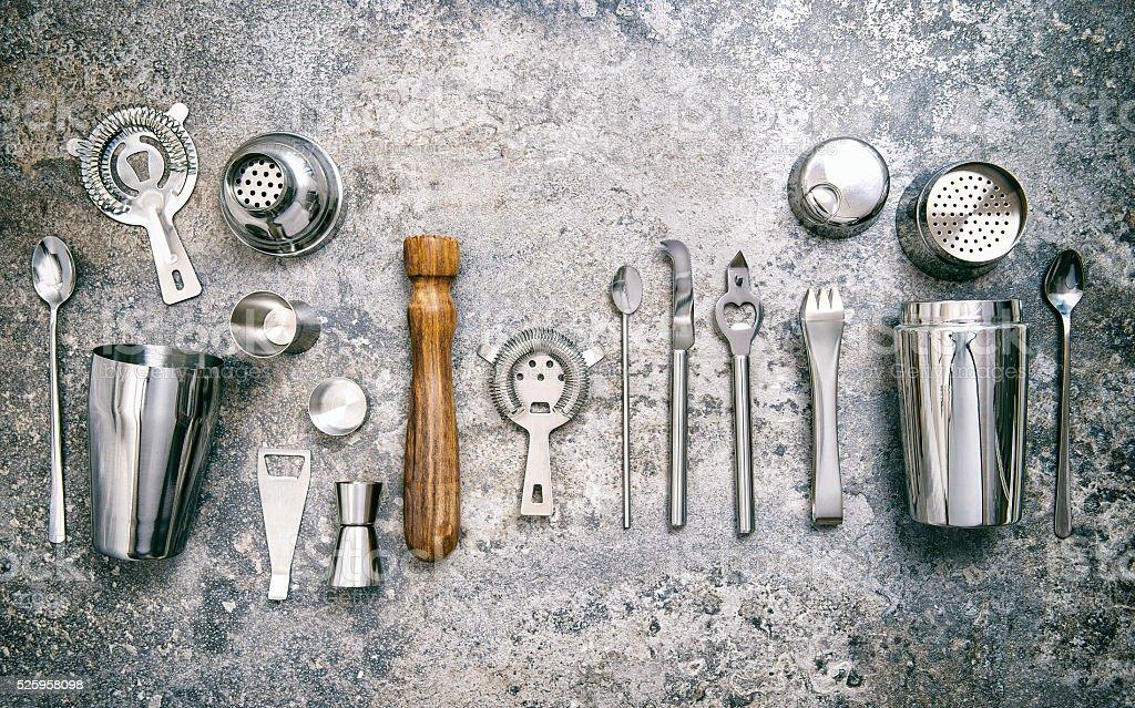 Bar tools making cocktail Shaker jigger Food beverages vintage stock photo