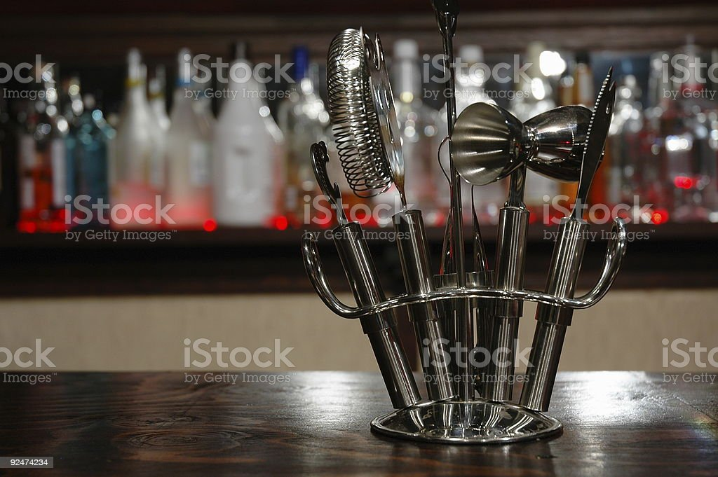Bar Tools with Red Bar Background stock photo