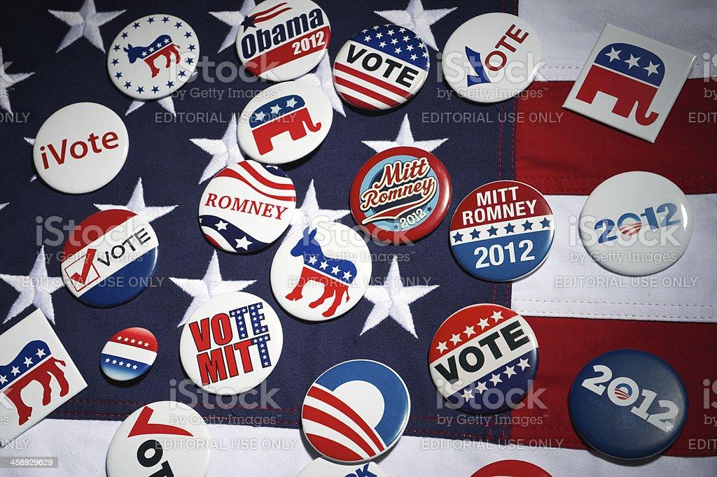 Barack Obama Mitt Romney Republican Democrat American Presidential Election Buttons royalty-free stock photo