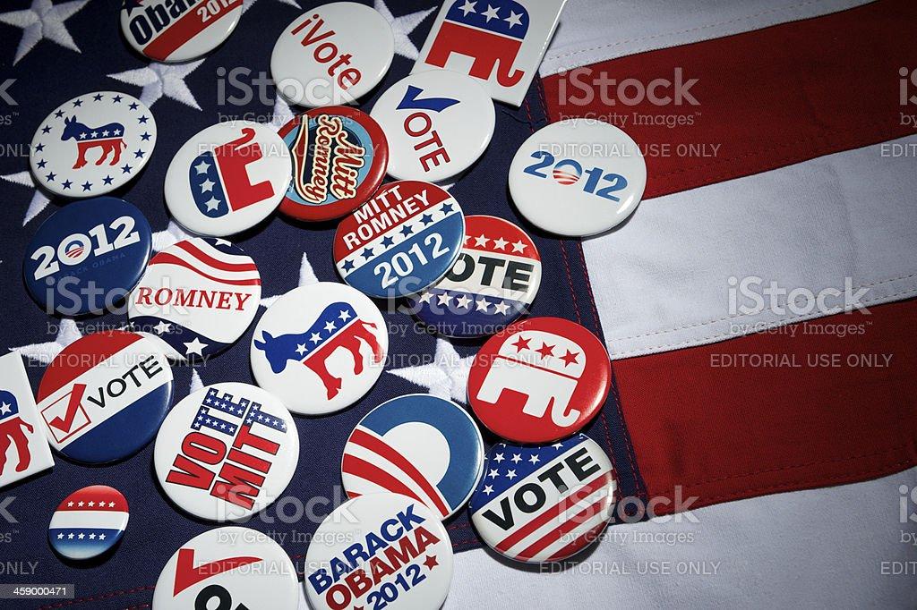 Barack Obama Mitt Romney Republican Democrat American Presidential Election Buttons stock photo