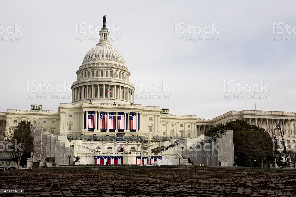 Barack Obamas Inauguration, Washington DC Capitol Building stock photo