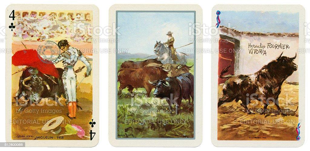 Baraja Taurina bullfight Spanish playing cards 1965 stock photo