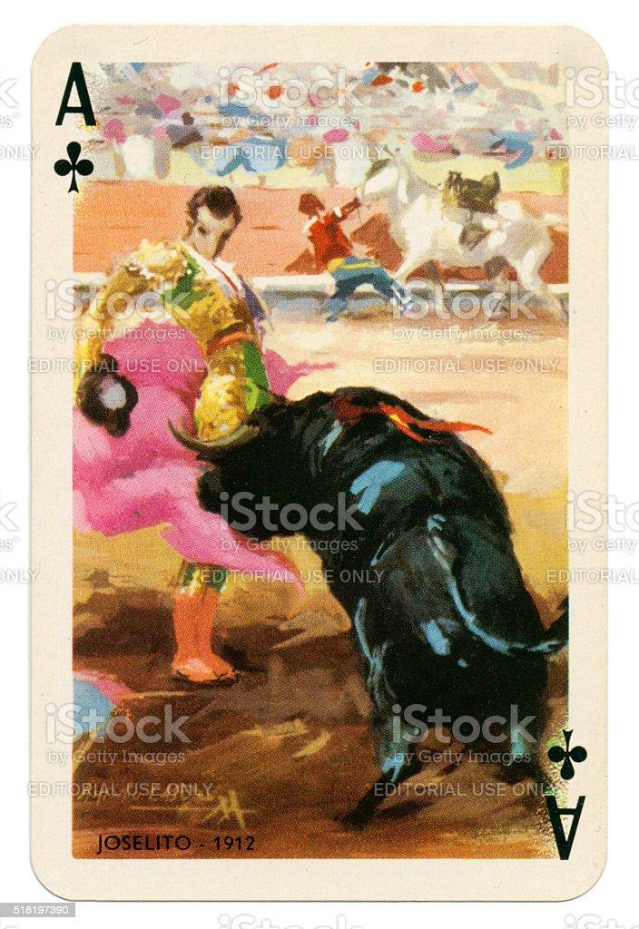 Baraja Taurina bullfighter Ace of Clubs 1965 stock photo